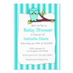Blue owl boy baby shower invite