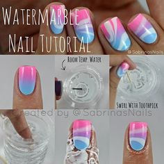 Have you tried a water marble nail polish? Here we offer you the 15 best water marble nail polishes Love Nails, How To Do Nails, Uñas Diy, Marble Nails Tutorial, Nails Decoradas, Water Marble Nail Art, Manicure Y Pedicure, Super Nails, Cute Nail Art