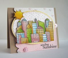 I made this card for my guest blogger post over at Two Peas. I love my Silly Scape! It's os cute and so fun to color.  For more on this card please visit  this post.  TFL. =)