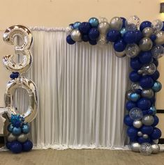 BIRTHDAY 🎈so happy to have done this blue and silver chrome display as a surprise to the birthday boy as arranged by his… Silver Party Decorations, Birthday Decorations For Men, Balloon Decorations Party, 30th Birthday Ideas For Men Surprise, Happy Birthday Decor, Blue Birthday Parties, 30th Birthday Parties, Birthday Party Themes, 50th Birthday