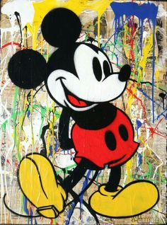 Mr Brainwash Oil Painting on Canvas Mickey Mouse by uniqueartdesings on Etsy Art Disney, Disney Pop, Disney Kunst, Mickey Mouse Wallpaper, Disney Wallpaper, Mickey Mouse And Friends, Mickey Minnie Mouse, Mr Brainwash Art, Mickey Mouse Kunst