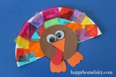 Paper Plate Turkey Craft | paper plate, collage, turkey craft