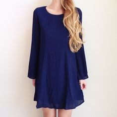 | new | navy long sleeve dress offers welcome new with tag size small navy shift dress with long flowy sleeves. •870823•  website: XOmandysue.com  sign up for surprise, stylist-curated monthly looks based on your style! use code first25 to get your first outfit for just $25!  instagram: XOmandysue Everly Dresses Long Sleeve