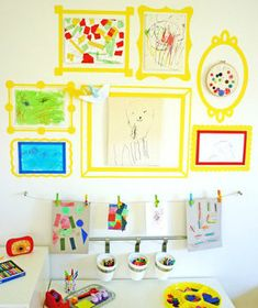 Decals   Instead of letting your child's drawings clutter your fridge door or countertops, hang a few artfully and don't feel guilty about tossing the others.