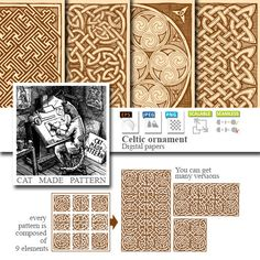 4 Seamless celtic patterns in ink hand drawn от CatMadePattern