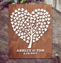 Segno di legno Guest Book alternativo 3D di MelindaWeddingDesign