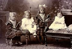 Victorian Children  Such a sad bunch -think they were threatened with more than No Supper that night.  Poor babies!!
