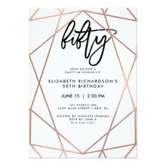 30th birthday invitation wording projects to try pinterest faux rose gold geometric 50th birthday party invitation stopboris Image collections
