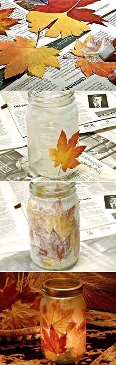 Herbstliche Dekoration, ganz einfach selbst gemacht! Bunte Blätter-Deko Windlichter - DIY! Ganz einfach, mit ein paar schönen Blättern und alte Einmachgläsern! #Upcycling #Basteln