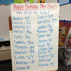 Best idea for teacher birthday card. Take a class poll and add it to the front of the card haha