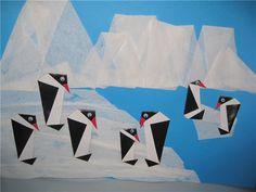 Origami Penguins-Vouwen 2d: pinguin collage voor kleuters