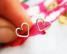 Heart stud earrings silver post earring small heart by AAprill, $10.00