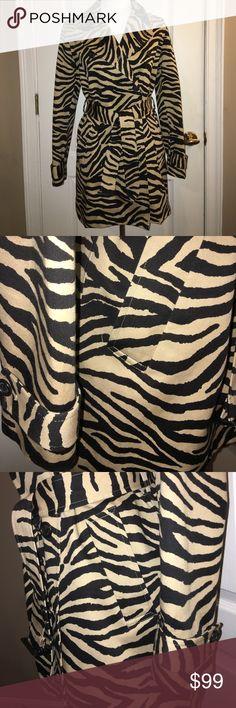 LAUREN Ralph Lauren Zebra Trench Coat Purchased for $199. but now it doesn't fit. NWOT. Impeccable! Black & camel zebra pattern. Lauren Ralph Lauren Jackets & Coats Trench Coats