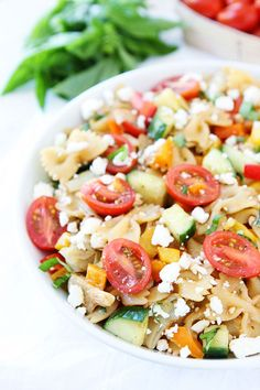 Like its name suggests, this 20-minute pasta salad includes feta, basil, artichoke hearts, and cucumbers.  Get the recipe at Two Peas and Their Pod.   - CountryLiving.com