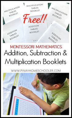 FREE and booklets for works math Montessori Addition, Subtraction, and Multiplication Booklets Montessori Kindergarten, Montessori Homeschool, Montessori Elementary, Montessori Classroom, Montessori Trays, Catholic Homeschooling, Multiplication Activities, Math Activities, Maths