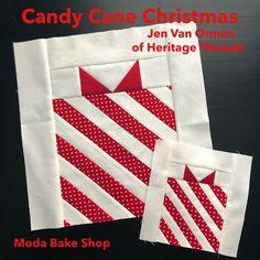 Dec 11: Candy Cane Christmas | modafabrics.com Christmas Blocks, Christmas Quilt Patterns, Quilt Block Patterns, Pattern Blocks, Christmas Projects, Quilt Blocks, Christmas Quilting, Christmas Minis, Christmas Parties