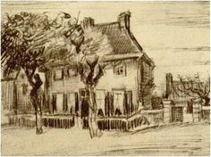 Vincent van Gogh Drawing, Pencil, pen Nuenen: October, 1885 Location unknown F: 1343a, JH: 951 Image Only - Van Gogh: Vicarage at Nuenen