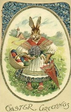 Antique Easter postcard with anthropomorphic stern Mom rabbit and her basket of eggs.