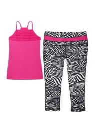 Girls Activewear Legging Set - Sporty, versatile activewear leggings/ top with four way stretch, moisture wicking and pilling resistant technology. Tops For Leggings, Printed Leggings, Kids Outfits, Cool Outfits, Activewear Sets, White Zebra, Sport Girl, Sport 2