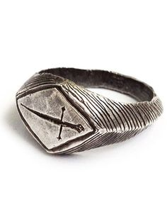 """The Ace of Swords strikes like lightning. It represents a sudden moment of wisdom or insight, when you just """"know"""" exactly what to do. Wear this ring to increase clairvoyance."""