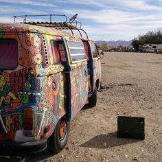 Liked on InstaGram: Camped out at Slab City last night. #vw #volkswagen #vanlife #roadtrip #slabcity #california #socal #hippievan