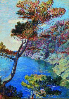 Rubaldo Merello 1872-1922 Divisionismo Il promontorio di Portofino 1914