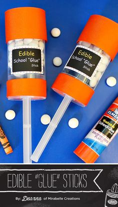 """Back to school is in full swing right now, so don't miss this round up of 5 Cute {& Homemade} Back To School Party Dessert Ideas - including these {creative} edible """"Glue Sticks"""" from Deanna of Mirabelle Creations! #BacktoSchool"""