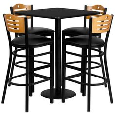 30 Round Natural Laminate Table Set With 4 Ladder Back