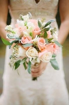 mint green, cream and peach bouquets - Google Search