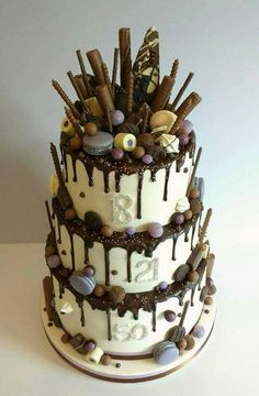 This Chocolate Layered Drip Cake is so beautiful and Elegant! Drip Cakes, Candy Cakes, Cupcake Cakes, 21st Cake, Chocolate Drip Cake, Bolo Cake, My Birthday Cake, Novelty Cakes, Occasion Cakes