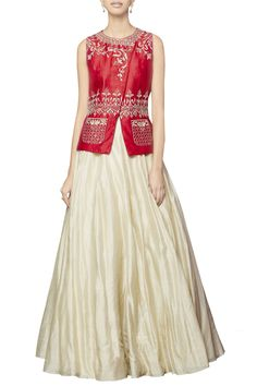 Red embroidered bandi with cream lehenga  by Anita Dongre - Shop at Aza
