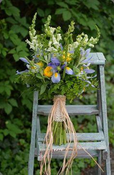 Gorgeous wild bouquet with iris - the Louisiana state wild flower!