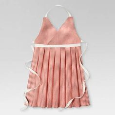 love the style of this apron with the pleated skirt and empire waist! Orange Gingham Kitchen Textiles Cooking Apron #affiliate