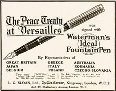 Waterman Fountain Pen | Waterman's fountain pen ad, 1919.
