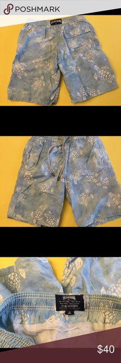 Boys Vilebrequin turtle swim trunks Sz 10 Cute pair of boys Vilebrequin turtle swim trunks in a size 10.  This brand runs quite small - my son was a size 7/8 when he wore these comfortably.  These have been well loved and I would say they are in good/fair condition.  But they can go another round at the beach or pool.  This print has a faded/spotted appearance.  Please see photos.  These were purchased this way - please be comfortable with this before buying. Vilebrequin Swim Swim Trunks