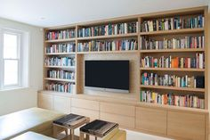 For a person who really adores reading and collecting books or just want to show off the fact he loves to read a lot, th Bookshelves With Tv, Built In Shelves Living Room, Living Room Wall Units, Bookshelves In Living Room, Bookcase Wall, Bookshelf Design, Living Room Designs, Living Room Decor, Living Room Storage