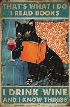 Crazy Cat Lady, Crazy Cats, Dessin Old School, Books To Read, My Books, Cat Reading, Cat Posters, Movie Posters, Wine Drinks