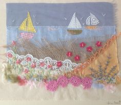 Three boats. Applique and hand embroidery by Julie Brand