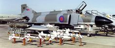 RAF F-4 Phantom II showing weapons for air defence role: 20mm Vulcan cannon (left), AIM9L Sidewinder (infrared guided missile) & Skyflash (radar guided missile),on outboard pylons Sargent Fletcher underwing fuel tanks.