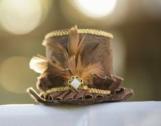 Brown and Gold Mini Hat by EleyasDesigns on Etsy