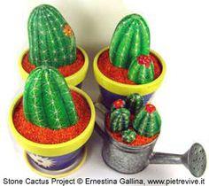 painted rocks to look just like cactus.