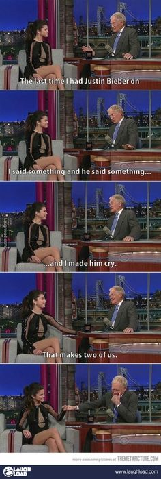 Selena and Letterman diss The Biebs
