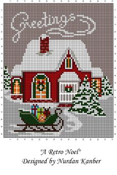 Vintage Embroidery Patterns - Embroidery Patterns - A Retro Noel by Nurdan Kanber - Cross Stitch House, Xmas Cross Stitch, Cross Stitch Charts, Cross Stitch Designs, Cross Stitching, Cross Stitch Embroidery, Christmas Embroidery Patterns, Embroidery Ideas, Christmas Cross Stitch Patterns