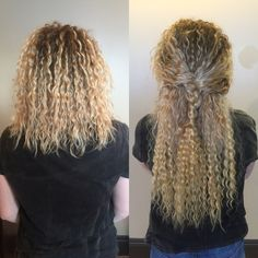 Blonde Curly Extensions Before and After by Jandy Taylor Indian Wave 18 inch Color 22