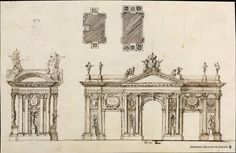 ARCHITECTURE AND ACADEMY. THE TRIUMPH OF CLASSICISM AND THE STANDARD   projects and models. The eloquence of the standard  ANONYMOUS SPANISH   triumphal arch Project (1790-1808)    3 drawings (1 hr.) on laid paper, brown paper: pen, brush, pen, brown ink and gray washes of India ink, 116 x 180 mm.   Barcia n. No. 1228.