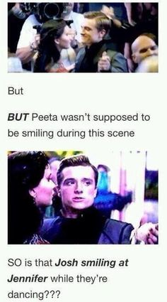 Image about peeta in THG/Peeniss/joshifer😍😍 by Jessica Hunger Games Memes, Hunger Games Cast, Hunger Games Fandom, Hunger Games Catching Fire, Hunger Games Trilogy, Suzanne Collins, Katniss And Peeta, Katniss Everdeen, Josh And Jennifer
