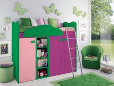 """Camerette per ragazzi e ragazze. """"Samanta"""" è una fantasiosa soluzione salvaspazio che unisce in un unico mobile letto, mensole e armadio. Scopri le altre proposte su www.camerettegirotondo.it #Camerette #Viola #Samanta"""