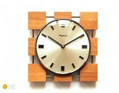 GORGEOUS 60s Mid Century DUGENA JUNGHANS Cube Wall Clock Teak - Nelson Modern Eames German mcm