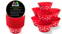 ON SALE! Cupcake liners with premium polka dot design not available anywhere else. Cool Kitchen Gadgets, Cool Kitchens, Silicone Cupcake Liners, Thing 1, Baking Cups, Practical Gifts, Cupping Set, Baked Goods, Polka Dots