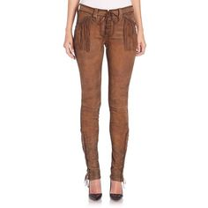 Polo Ralph Lauren Fringed Stretch Leather Pants ($1,498) ❤ liked on Polyvore featuring pants, apparel & accessories, brown, polo ralph lauren, fringe pants, skinny pants, leather trousers and stretch leather pants